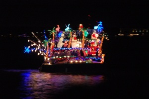 You may not get snow, but you will get beautiful homes and boats glowing with christmas lights!