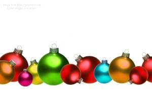 Colored christmas glass balls isolated on white